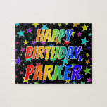 "[ Thumbnail: ""Parker"" First Name, Fun ""Happy Birthday"" Jigsaw Puzzle ]"