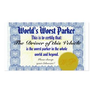 Parker peor del mundo tarjeta de negocio