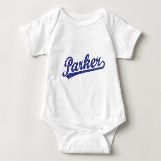 Parker script logo in blue baby bodysuit