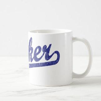 Parker script logo in blue classic white coffee mug