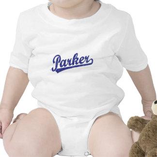 Parker script logo in blue t-shirt