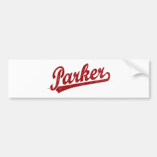 Parker script logo in red car bumper sticker