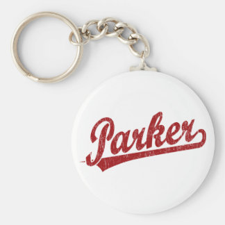 Parker script logo in red key chains