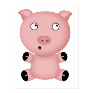 Parker the Cute Pink Cartoon Pig Postcard