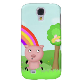 Parker the Pink Pig in a Field Scene Galaxy S4 Cover
