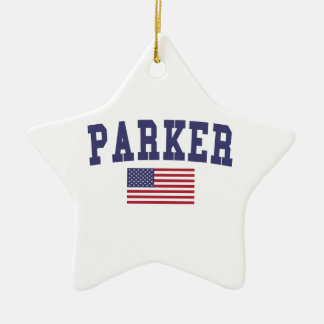 Parker US Flag Ceramic Ornament