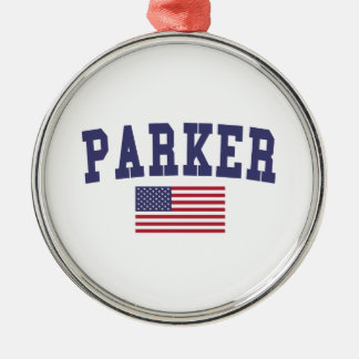 Parker US Flag Metal Ornament