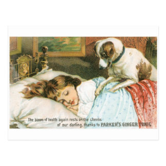 Parkers Ginger Tonic Sleeping Girl with Dog Post Card