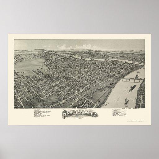 Parkersburg, mapa panorámico de WV - 1899 Póster