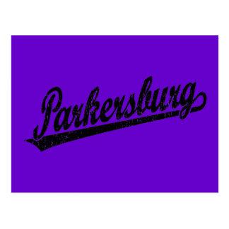 Parkersburg script logo in black distressed postcard