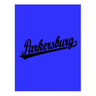 Parkersburg script logo in black postcard