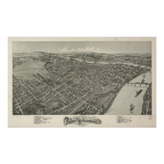 Parkersburg W. Virginia 1899 Antique Panoramic Map Poster