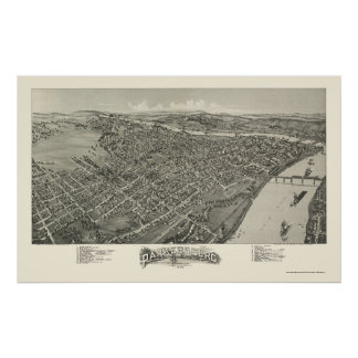 Parkersburg, WV Panoramic Map - 1899 Poster