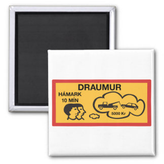 Parking 10 Min Maximum, Traffic Sign, Iceland 2 Inch Square Magnet