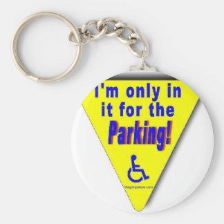 parking basic round button keychain