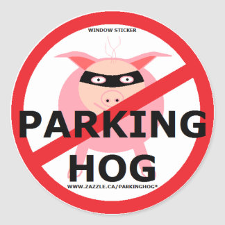 PARKING HOG BANDIT CLASSIC ROUND STICKER