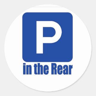 Parking in the Rear Round Sticker