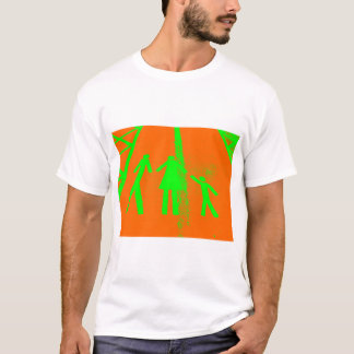 Parking Lot Abduction in Orange and Green T-Shirt