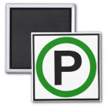 Parking Permitted Highway Sign 2 Inch Square Magnet