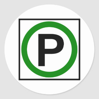 Parking Permitted Highway Sign Round Stickers