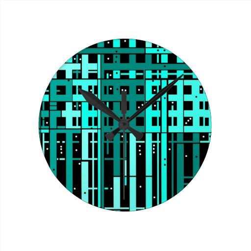 Parking verde de la aguamarina abstracta reloj redondo mediano
