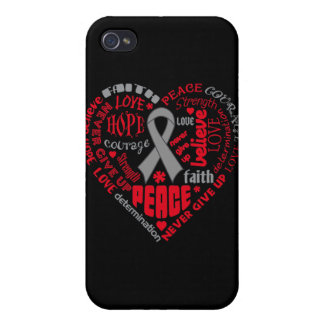 Parkinson's Disease Awareness Heart Words Case For iPhone 4