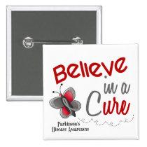 Parkinson's Disease Butterfly 2 Believe In A Cure Button