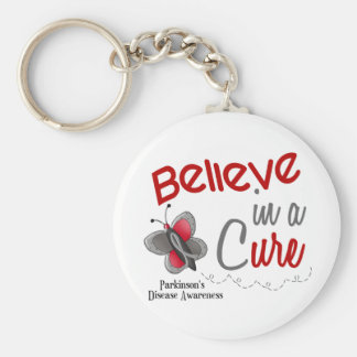 Parkinson's Disease Butterfly 2 Believe In A Cure Basic Round Button Keychain