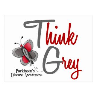 Parkinson's Disease Butterfly 2 Think Grey Postcard