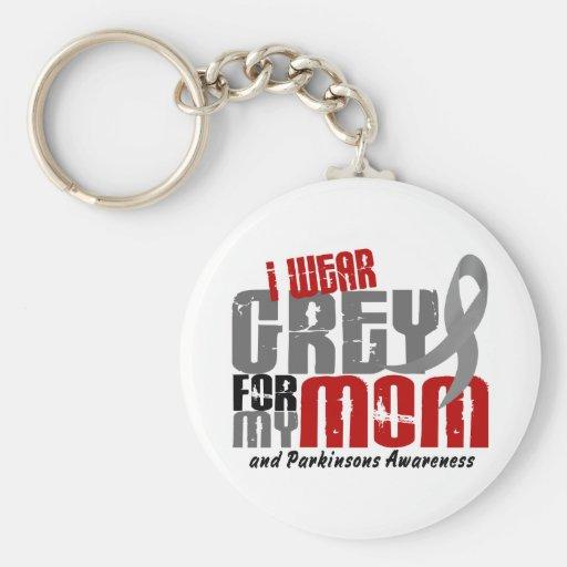 Parkinson's Disease I WEAR GREY FOR MY MOM 6.2 Basic Round Button Keychain