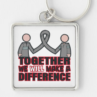 Parkinson's Disease Together We Will Make A Differ Silver-Colored Square Keychain