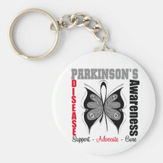Parkinson's Disease Awareness Butterfly Basic Round Button Keychain