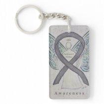 Parkinson's Disease Awareness Ribbon Keychain