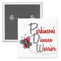 Parkinson's Disease Butterfly 2 Warrior Pinback Button