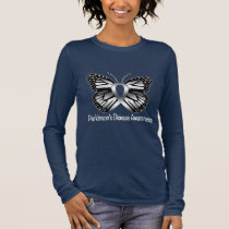 Parkinson's Disease Butterfly Awareness Ribbon Long Sleeve T-Shirt