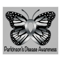 Parkinson's Disease Butterfly Awareness Ribbon Poster