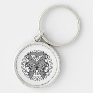 Parkinsons Disease Butterfly Circle of Ribbons Silver-Colored Round Keychain