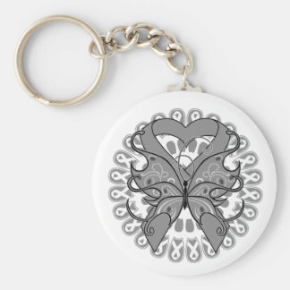 Parkinsons Disease Butterfly Circle of Ribbons Basic Round Button Keychain