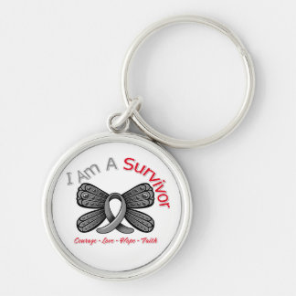 Parkinson's Disease Butterfly I Am A Survivor Silver-Colored Round Keychain