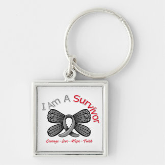 Parkinson's Disease Butterfly I Am A Survivor Silver-Colored Square Keychain