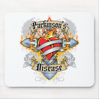 Parkinson's Disease Cross & Heart Mouse Pad