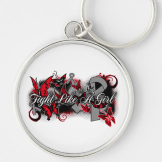 Parkinsons Disease Fight Like A Girl Butterfly Silver-Colored Round Keychain
