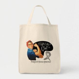 Parkinsons Disease Fight Like a Girl Rosie Riveter Tote Bag