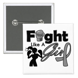 Parkinson's Disease Fight Like A Girl Silhouette 2 Inch Square Button