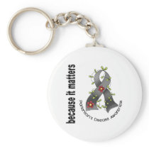 Parkinsons Disease Flower Ribbon 3 Keychain