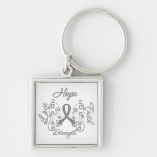 Parkinson's Disease Hope Motto Butterfly Silver-Colored Square Keychain