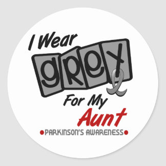 Parkinsons Disease I WEAR GREY For My Aunt 8 Classic Round Sticker