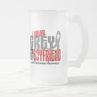 Parkinsons Disease I WEAR GREY FOR MY BOYFRIEND 6 16 Oz Frosted Glass Beer Mug