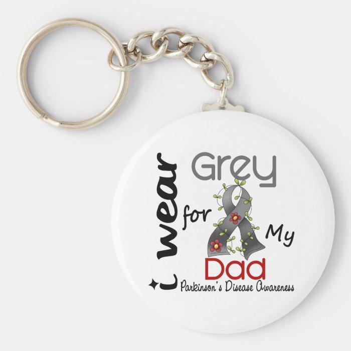 Parkinsons Disease I Wear Grey For My Dad 43 Keychain