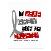 Parkinsons Disease I WEAR GREY FOR MY DAUGHTER 37 Postcard